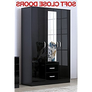 3 Door Black Wardrobes With Trendy Gladini Xl Mirrored Black High Gloss 3 Door Wardrobe With  (View 5 of 15)