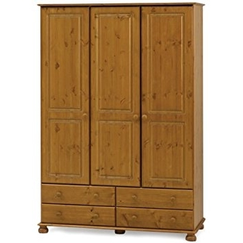 3 Door Pine Wardrobes Within Well Known Steens Richmond 3 Door Pine Wardrobe: Amazon.co (View 5 of 15)
