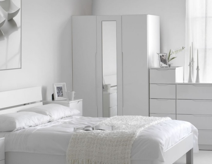 3 Door Tall White High Gloss Wardrobe Regarding Well Known Tall White Gloss Wardrobes (View 3 of 15)