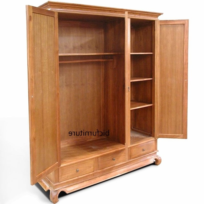 3 Door Wardrobe In Teak Wood (Gallery 6 of 15)