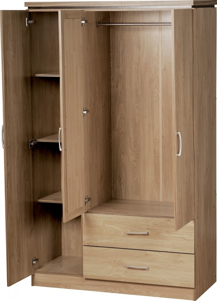 3 Door Wardrobes With Drawers And Shelves Pertaining To Best And Newest Charles 3 Door 2 Drawer Mirrored Wardrobe (View 4 of 15)