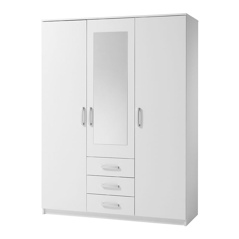 3 Door White Wardrobes In Latest Vinderup 3 Door Wardrobe (White) (View 1 of 15)