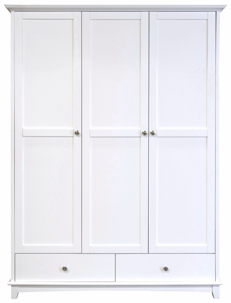 3 Door White Wardrobes With Drawers Inside Newest Gfw Toulouse White 3 Door 2 Drawer Wardrobegfw (Gallery 5 of 15)