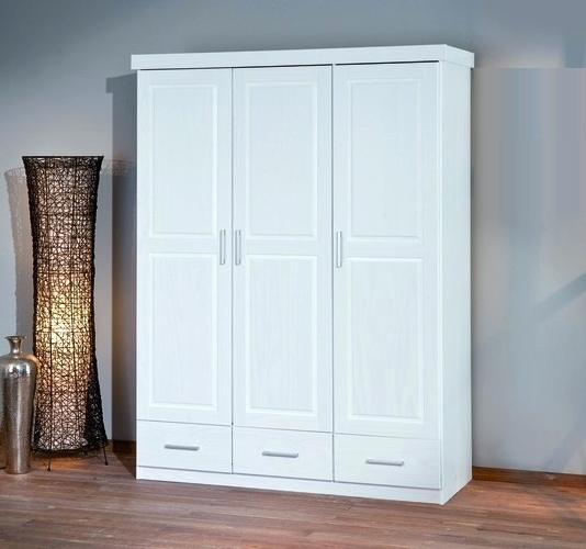 3 Door White Wardrobes With Drawers Intended For Most Popular Wardrobes ~ Julio White 3 Door Wardrobe 3 Drawers White Wardrobe (Gallery 2 of 15)