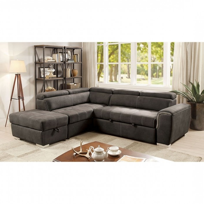 3 Piece Sectional Sleeper Sofas With Well Known 2 Pc Lorna Collection Graphite Fabric Upholstered Sectional Sofa (View 2 of 10)