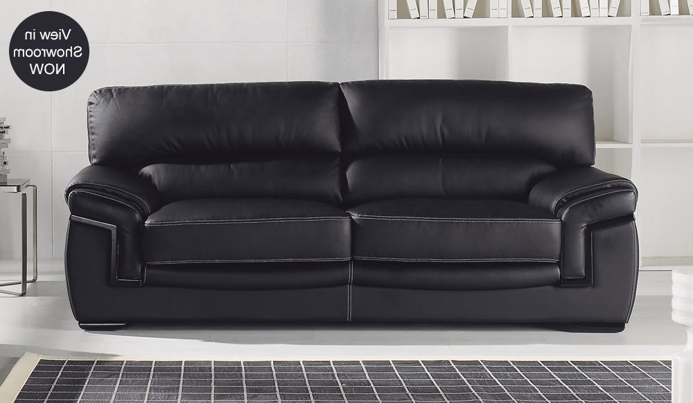 3 Seater Leather Sofas For Well Known Best Black Leather Sofas Bachelli Black Leather Sofa 3 Seater High (View 2 of 10)