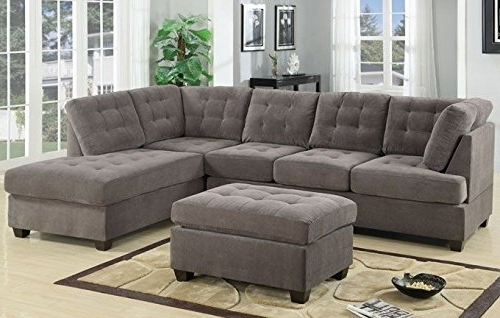 3Pc Modern Reversible Grey Charcoal Sectional Sofa Couch With With Regard To 2017 Sectional Sofas With Chaise And Ottoman (Gallery 4 of 10)