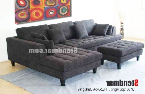 3Pc New Modern Dark Grey Microfiber Sectional Sofa Chaise Ottoman For Current Gray Sectionals With Chaise (Gallery 10 of 15)