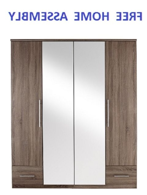 4 Door Mirrored Wardrobes Pertaining To Most Up To Date Cologne 4 Door 2 Drw Fully Mirrored Wardrobe In Oak With Home (View 2 of 15)