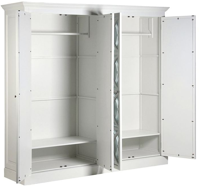 4 Door Mirrored Wardrobes With Well Known Buy Fayence White Painted 4 Door Mirrored Wardrobe Online – Cfs Uk (View 7 of 15)