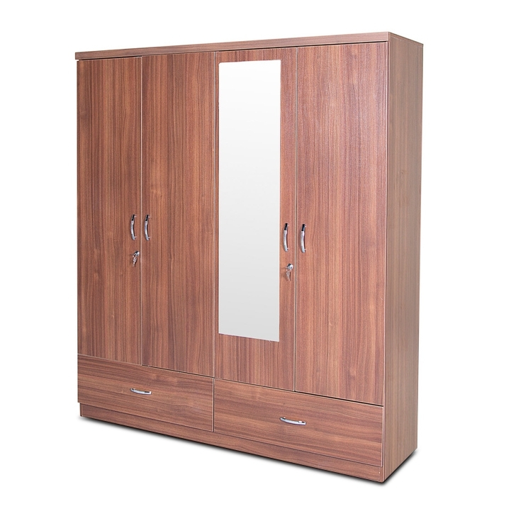 4 Door Wardrobes With Mirror And Drawers With Recent Buy Ultima Four Door Wardrobe With Mirror In Walnut Colour Online (View 5 of 15)