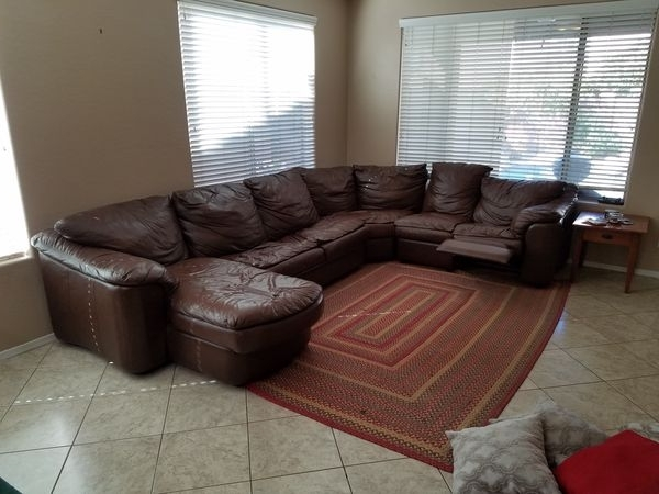 4Pc Brown Leather Sectional Sofa With Sleeper And Recliner In Most Current Gilbert Az Sectional Sofas (View 1 of 10)