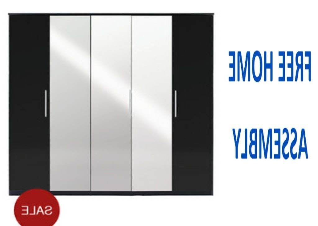 5 Door Mirrored Wardrobes Pertaining To Well Liked Beautifull Prague 5 Door Mirrored Wardrobe In High Gloss Black (View 3 of 15)
