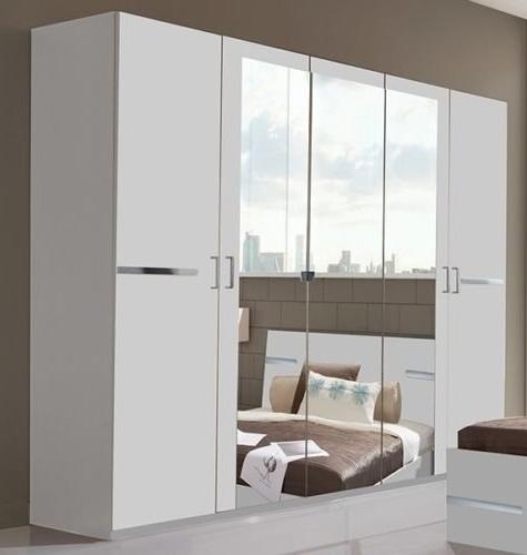 5 Door Mirrored Wardrobes Throughout Current Germanica Bavari 5 Door White Wardrobe With 3 Mirrored Doors Lots (Gallery 1 of 15)