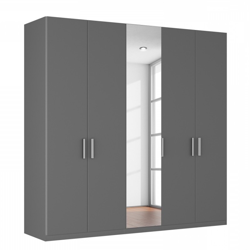 5 Door Mirrored Wardrobes With Most Popular Large Grey Wardrobes On Sale, Agon 5 Door Wardrobe (View 5 of 15)