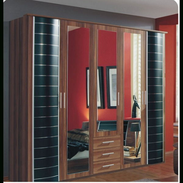 5 Door Wardrobes Inside Favorite German 5 Doors With 3 Drawers Wardrobe Walnut/black (Gallery 11 of 15)