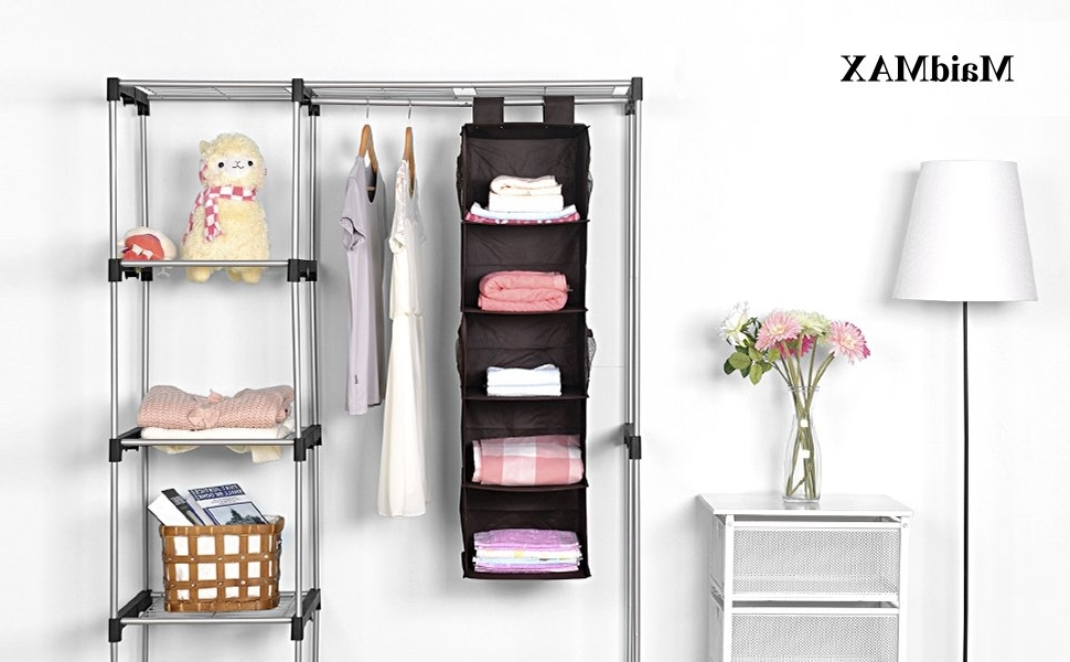 5 Shelf Hanging Closet Organizer, Maidmax Brown Hanging Accessory Within 2018 Hanging Wardrobes Shelves (View 2 of 15)