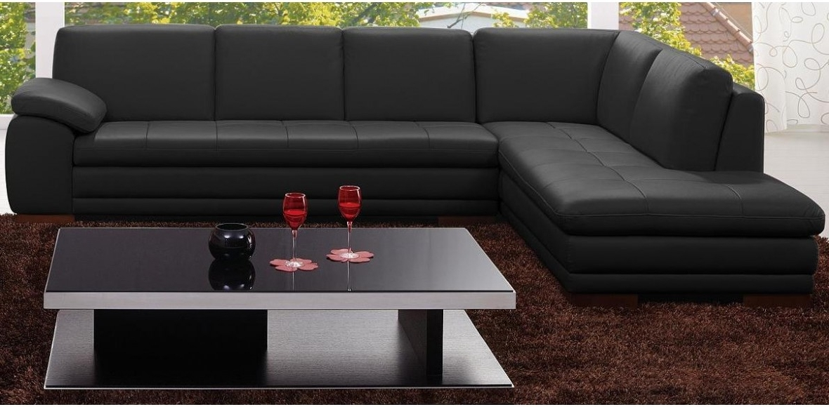 625 Black Sectional Italian Leather W Ottoman J&m Intended For Widely Used Black Leather Sectionals With Ottoman (View 1 of 10)