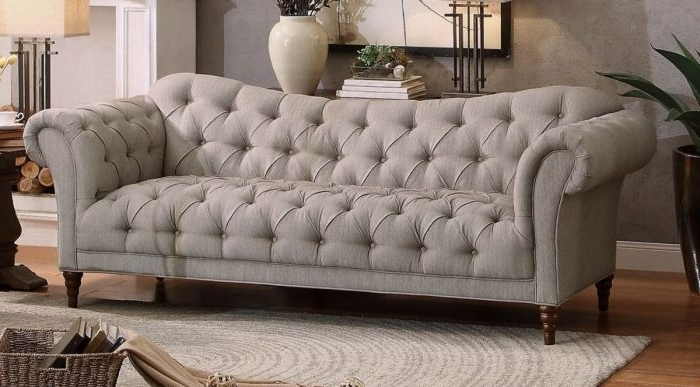 8469 3 Traditional Brown Almond Fabric Sofa Couch Tufting Rolled Arm Inside Well Known Traditional Fabric Sofas (Gallery 6 of 10)
