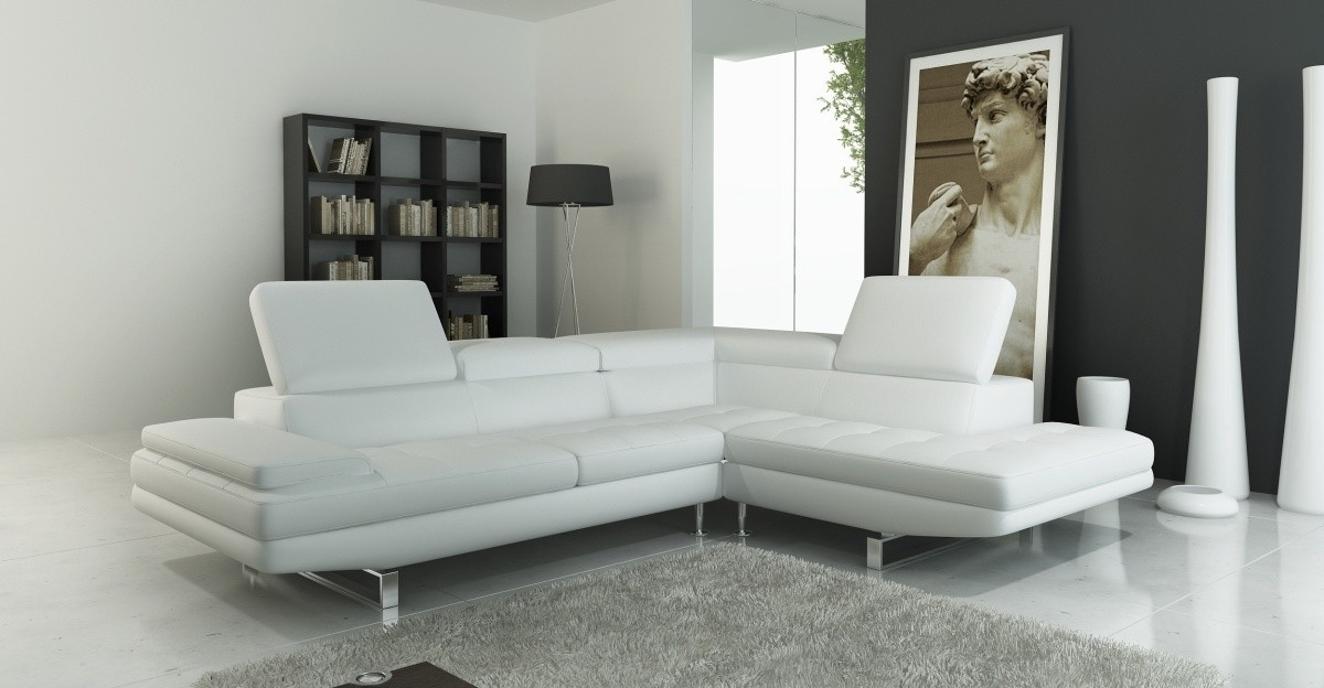 959 Modern White Italian Leather Sectional Sofa Modern White Intended For Well Known Tampa Sectional Sofas (Gallery 4 of 10)