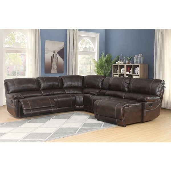 Abbyson Cooper 6 Piece Dark Brown Sectional Sofa – Free Shipping For Most Popular Abbyson Sectional Sofas (View 4 of 10)