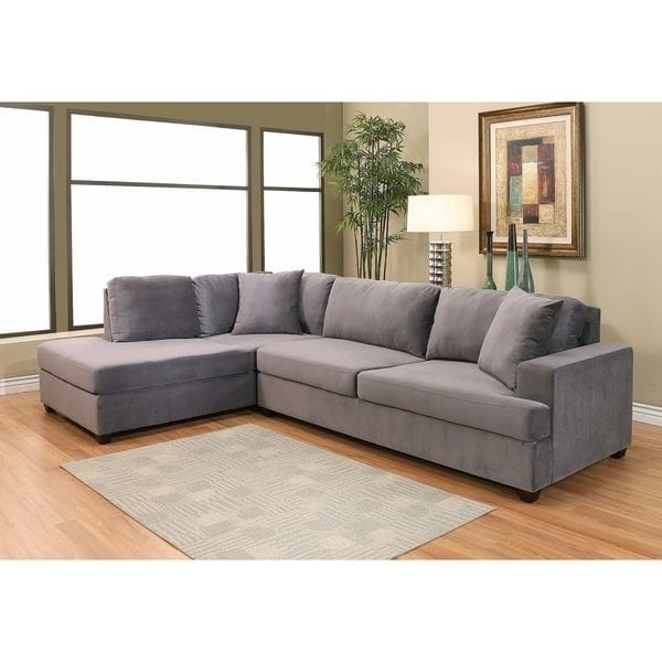 Abbyson Sectional Sofas Pertaining To Most Current Abbyson Vista Grey Velvet Fabric Sectional Sofa – Free Shipping (View 4 of 10)