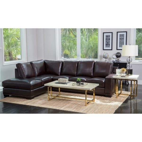 Abbyson Sectional Sofas Regarding Most Recently Released Abbyson Monaco Brown Top Grain Leather Sectional Sofa – Free (View 5 of 10)