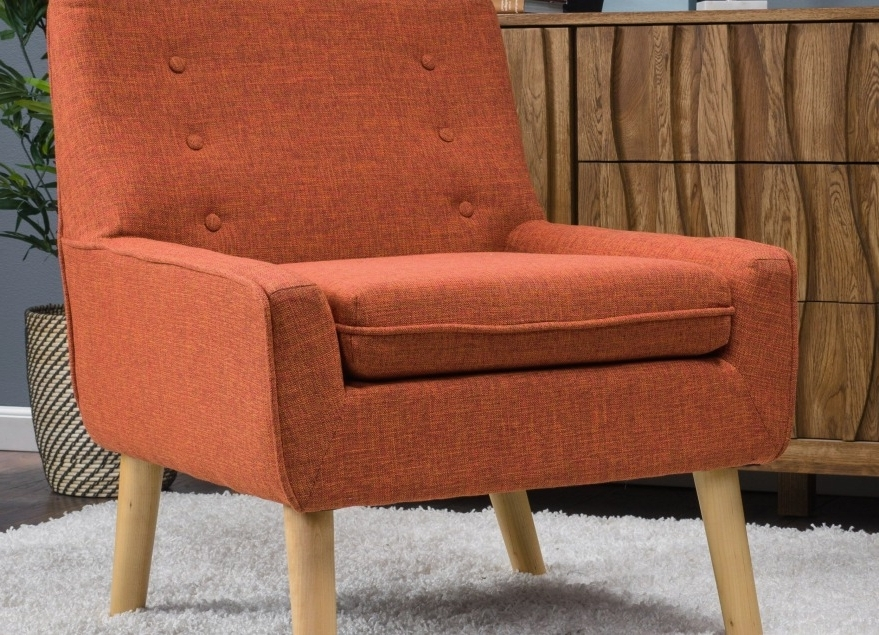 Accent Chaises With Regard To 2017 Retro Accent Chairs New Noble House Spruce Tufted Orange Fabric (View 15 of 15)