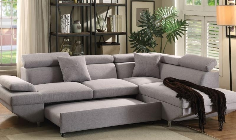 Acme 52990 Jemima Gray Fabric Sectional Sofa W Sleeper Within Well Known Sofas At