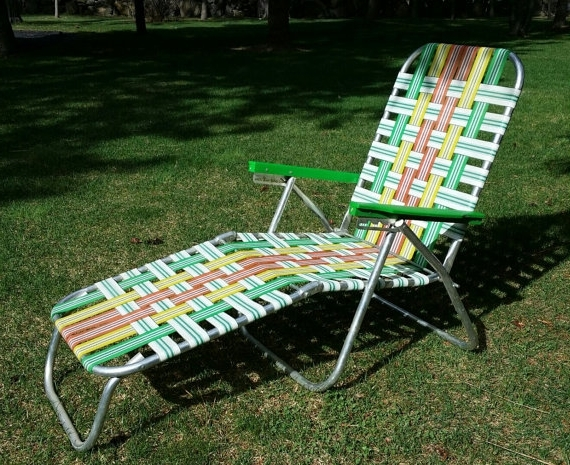 Adorable Folding Chaise Lounge Lawn Chair 60s Aluminum Lawn Chair Intended For Trendy Folding Chaise Lounge Chairs (View 12 of 15)