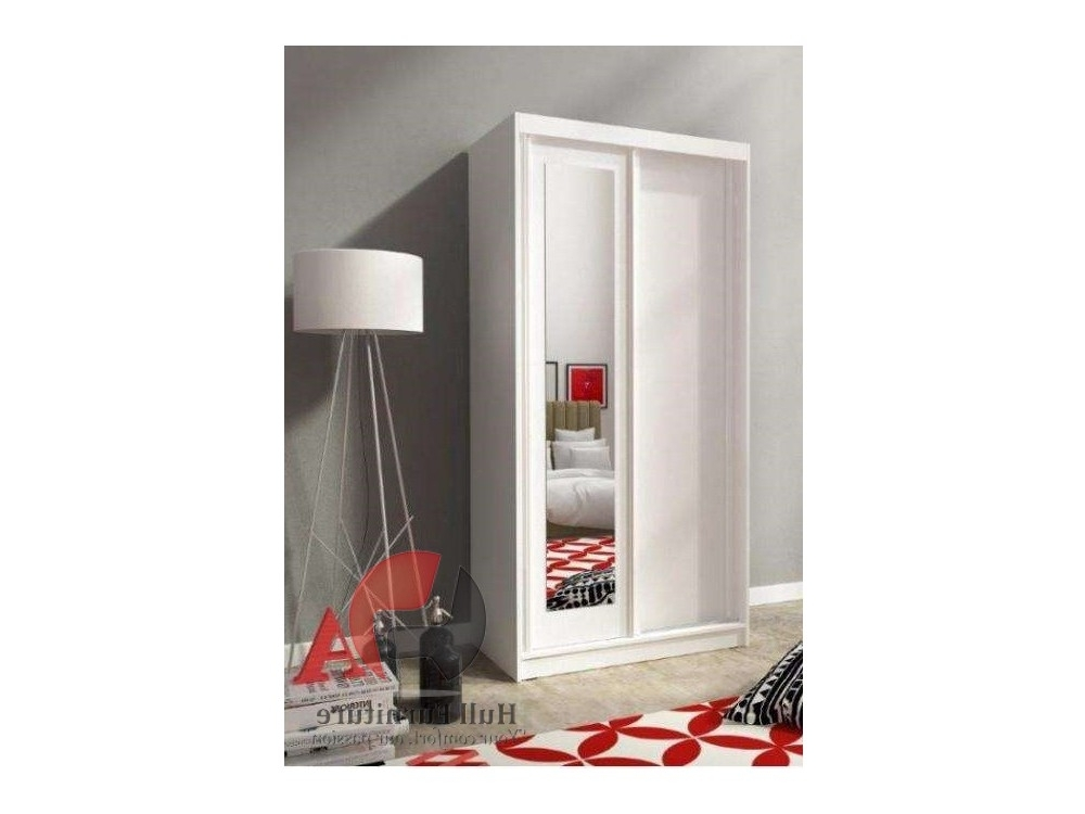 Alaska 100 Cm  White – Sliding Door Wardrobe With Mirror, Modern Within Most Up To Date Small Wardrobes (View 1 of 15)