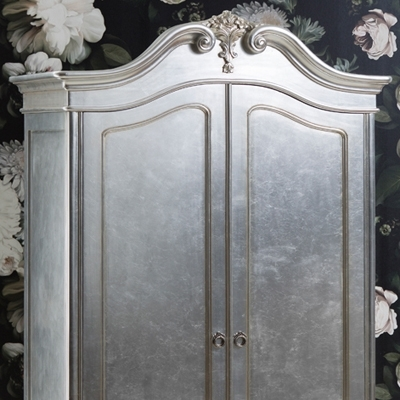 Alexandria Silver French 2 Door Double Wardrobe Throughout Well Known Silver French Wardrobes (View 3 of 15)