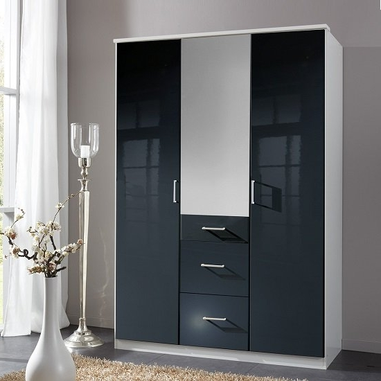 Alton Mirror Wardrobe In Gloss Black Alpine White With 3 With Widely Used 3 Door Black Wardrobes (View 6 of 15)