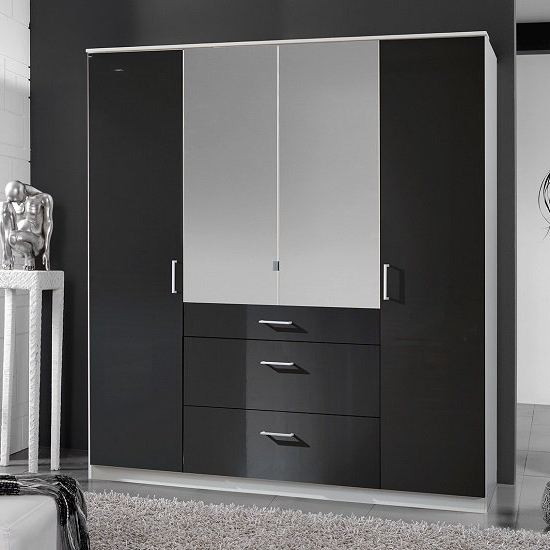 Alton Mirror Wardrobe In Gloss Black Alpine White With 4 Intended For Preferred Black Gloss Wardrobes (View 1 of 15)