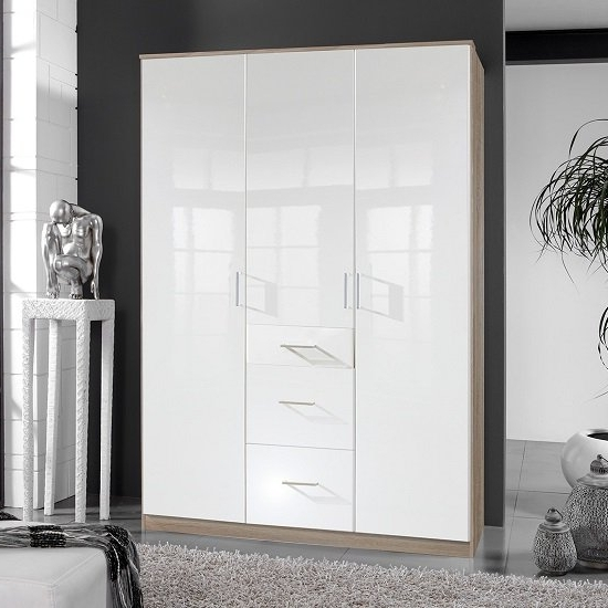 Alton Wardrobe In High Gloss White And Oak With 3 Door 3 Inside Most Current Glossy Wardrobes (View 9 of 15)