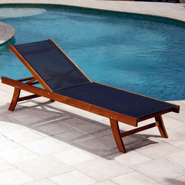 Amazing Outdoor Chaise Lounge Teak Sun Lounger With Mesh Fabric Within Most Current Outdoor Patio Chaise Lounge Chairs (View 1 of 15)