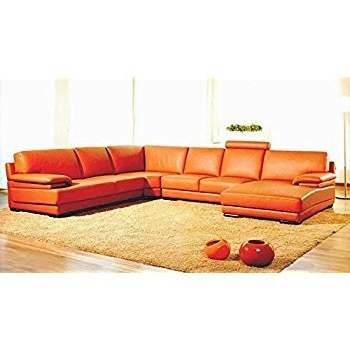 Amazon: 2227 Orange Leather Contemporary Sectional Sofa With Pertaining To Latest Orange Sectional Sofas (View 2 of 10)