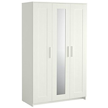 Amazon: Brimnes Home Bedroom Wardrobeswardrobe With 3 Doors In Recent White Double Wardrobes (View 1 of 15)