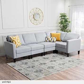 Amazon: Carolina Light Grey Fabric Sectional Sofa: Kitchen For Most Recent Fabric Sectional Sofas (View 1 of 10)