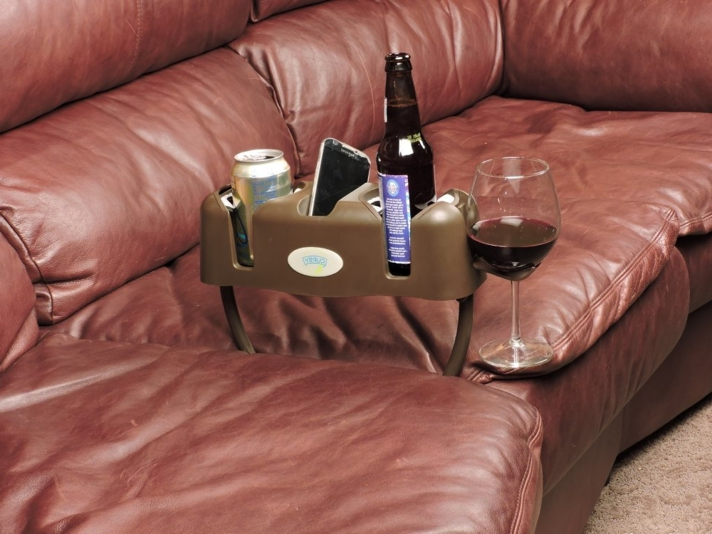 Amazon: Cupsy Sofa And Couch Armchair Drink Organizer And Pertaining To Most Recent Sofas With Drink Tables (View 2 of 10)