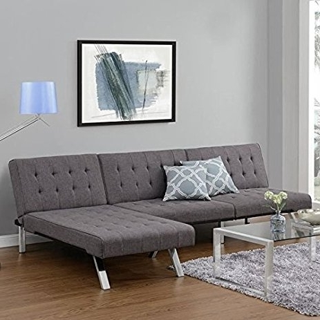 Amazon: Emily Futon Chaise Lounger (Gray): Kitchen & Dining Within Famous Futon Chaises (View 2 of 15)