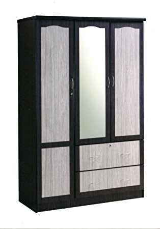 Amazon: Hodedah Import 3 Door Wardrobe With 2 Drawers & Mirror For 2017 Three Door Wardrobes With Mirror (View 1 of 15)