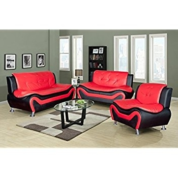 Amazon: Lifestyle Contempraray Faux Leather Living Room Sofa Pertaining To Recent Red And Black Sofas (View 2 of 10)