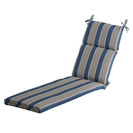 Amazon: Pillow Perfect Outdoor Blue/tan Striped Chaise Lounge Intended For Trendy Chaise Lounge Cushions (View 2 of 15)
