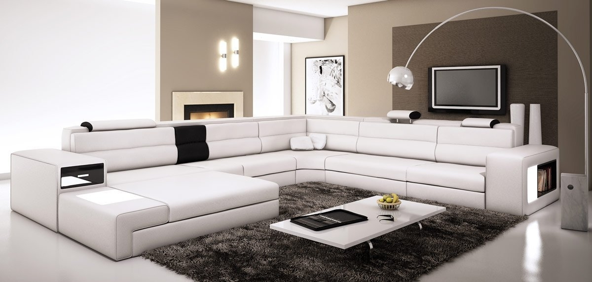 Amazon: Polaris – White Contemporary Leather Sectional Sofa Inside Most Recent Leather Sectional Sofas (View 8 of 10)