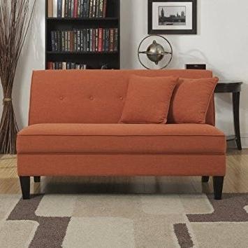 Amazon: Portfolio Engle Modern Orange Linen Armless Loveseat With Regard To 2018 Small Armless Sofas (View 1 of 10)