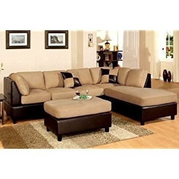 Amazon: Poundex New Two Tone Leatherette And Micro Suede With Regard To 2017 Beige Sectional Sofas (View 2 of 10)