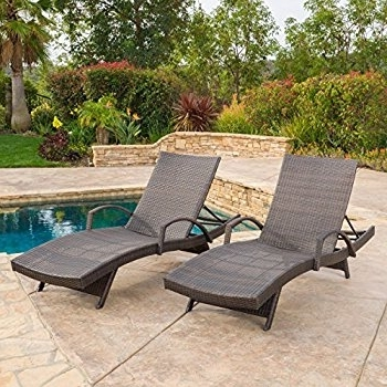 Amazon: (Set Of 2) Olivia Outdoor Brown Wicker Armed Chaise For Most Up To Date Brown Outdoor Chaise Lounge Chairs (View 2 of 15)