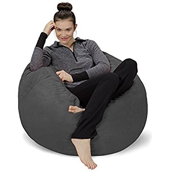 Amazon: Sofa Sack Bean Bag Chair, 3', Charcoal: Kitchen & Dining For Widely Used Bean Bag Sofas (View 1 of 10)