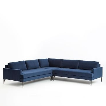 Andes L Shaped Sectional – Ink Blue (Performance Velvet) (View 2 of 10)